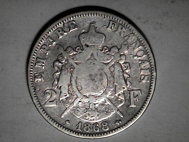 2 francos de 1868,plata.Napoleón III Fri_ja38