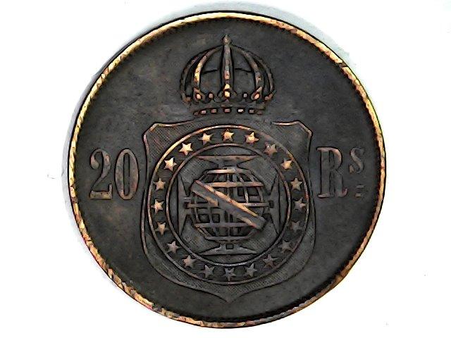 20 Reis de 1869. Imperio de Brasil. Pedro II. Sat_ja61