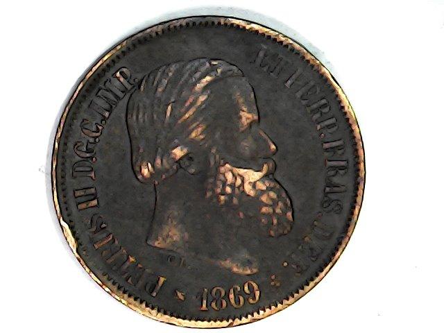 20 Reis de 1869. Imperio de Brasil. Pedro II. Sat_ja62