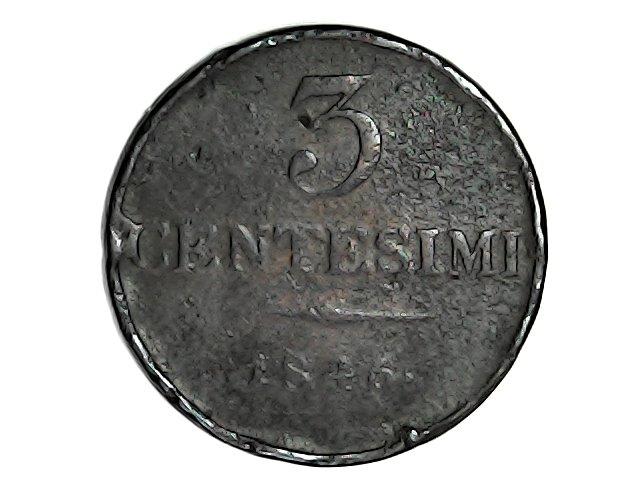 Reino Lombardo Veneto,1846.3 centesimi. Sat_ja67