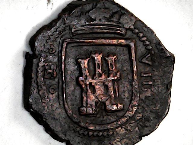 8 maravedis de Felipe III de Segovia, 1619, ambos acueductos invertidos. Sun_no49