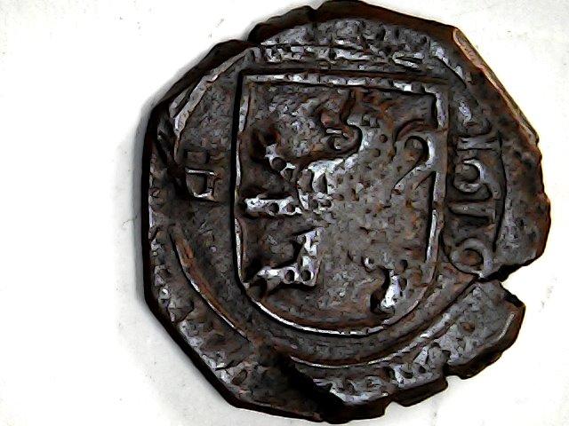 8 maravedis de Felipe III de Segovia, 1619, ambos acueductos invertidos. Sun_no51