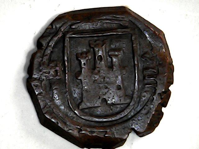 8 maravedis de Felipe III de Segovia, 1619, ambos acueductos invertidos. Sun_no52