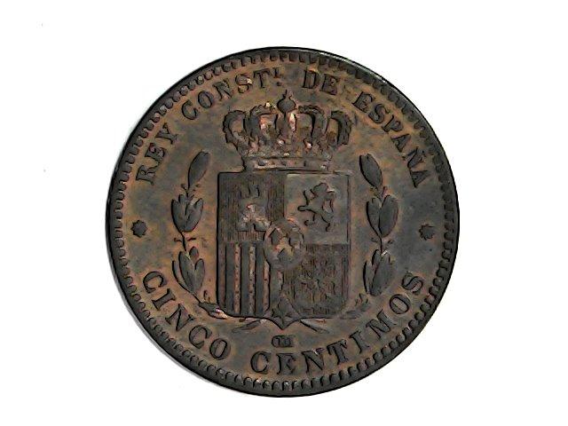 5ctmos.1877 Alfonso XII Oreja rayada. Wed_ja27