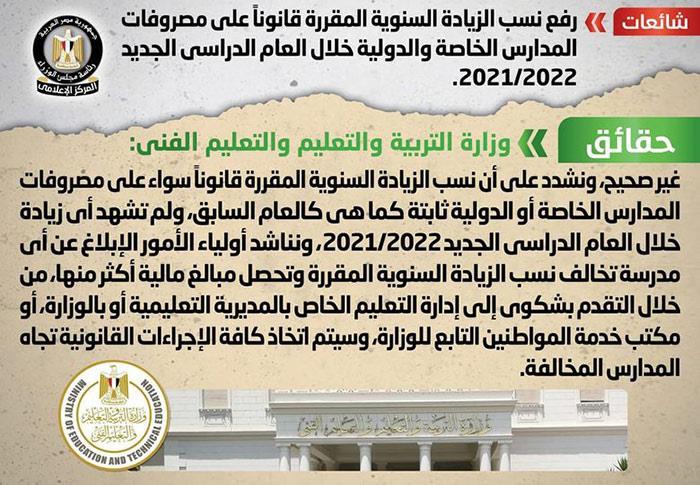 بيان حازم من التعليم للرد على  رفع نسب الزيادة على مصروفات المدارس الخاصة 2021_111