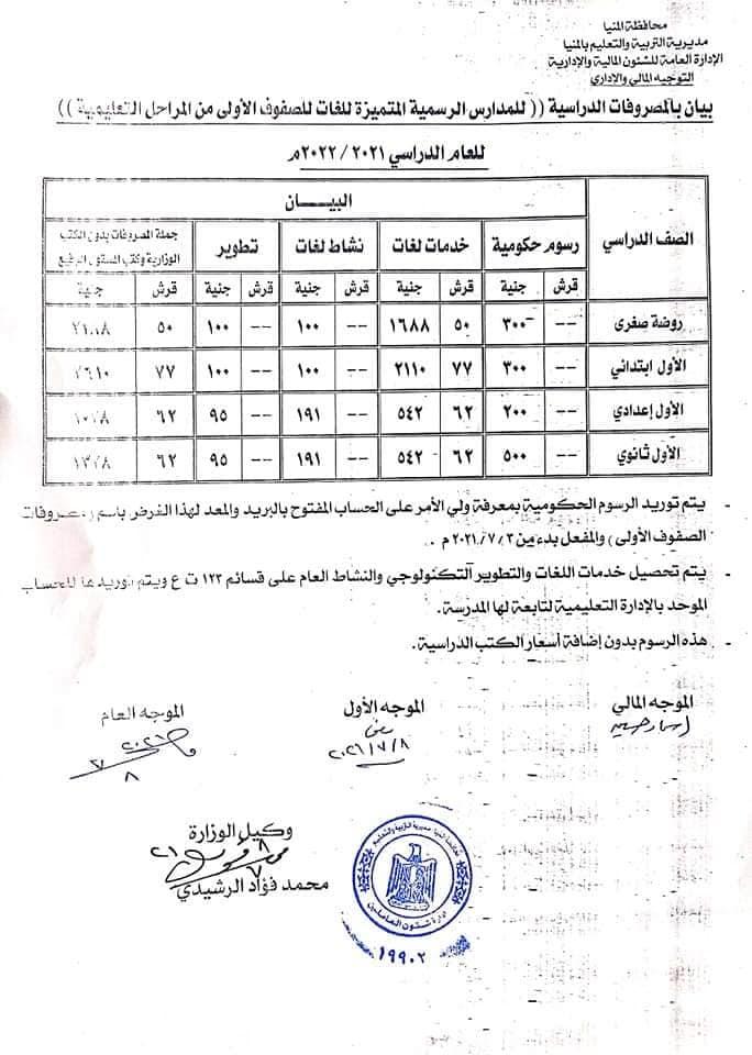 مصروفات المدارس الرسمية للغات   &    والمدارس الرسمية المتميزة للغات للصفوف الاولى من المراحل التعليمية.  للعام الدراسي ٢٠٢١  / ٢٠٢٢ م 22055810