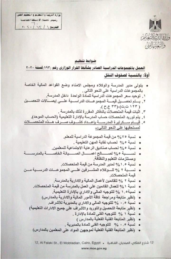ضوابط تنظيم العمل بالمجموعات الدراسية2022 23342010