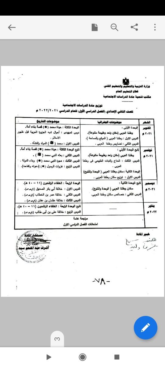 توزيع منهج الدراسات الاجتماعية للصف الثاني الاعدادي 2022 للترم الاول والترم الثاني 24305510