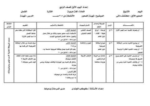 نماذج تحضير المناهج المطورة لغة عربية و ريلضيات للصف الرابع ترم أول 2022 حسب دليل المعلم و نعليمات  الموجهين العموم  24355210