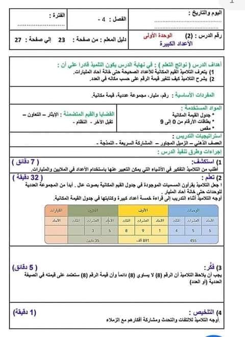 نماذج تحضير المناهج المطورة لغة عربية و ريلضيات للصف الرابع ترم أول 2022 حسب دليل المعلم و نعليمات  الموجهين العموم  24371210