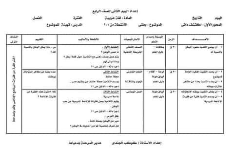 نماذج تحضير المناهج المطورة لغة عربية و ريلضيات للصف الرابع ترم أول 2022 حسب دليل المعلم و نعليمات  الموجهين العموم  24385910