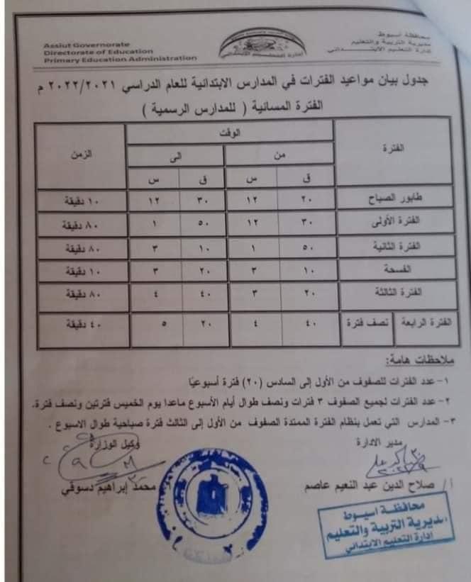 جدول مواعيد الفترات في المدارس الابتدائية للعام الدراسي الجديد والخطة الأسبوعية 24433510