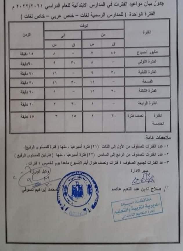 جدول مواعيد الفترات في المدارس الابتدائية للعام الدراسي الجديد والخطة الأسبوعية 24438810