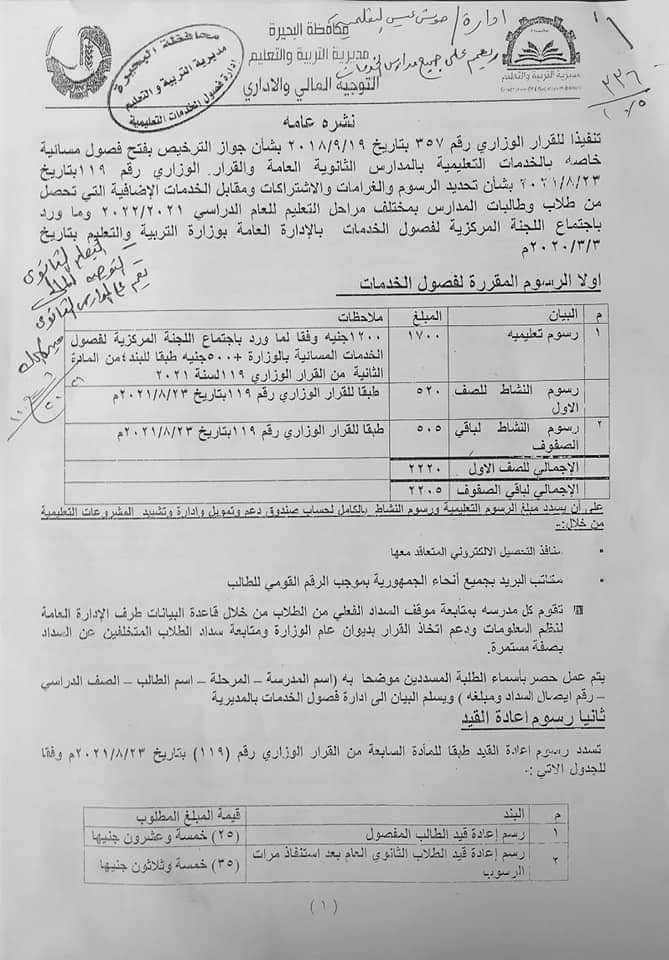 خاص بفصول الخدمات المسائيه الثانوي العام الرسوم المدرسيه المقرر 2021 24514010