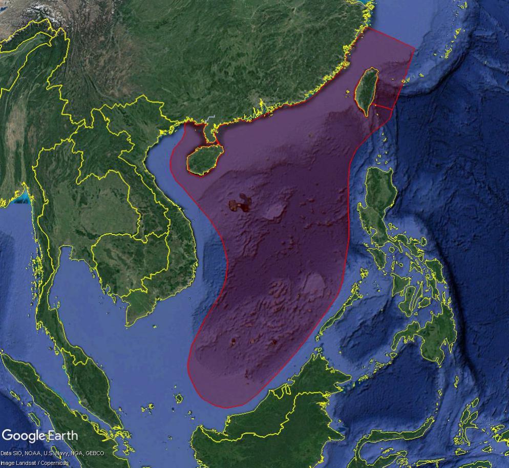 MER DE CHINE MERIDIONALE : la mainmise de la Chine... et le redécoupage des eaux territoriales Overl210
