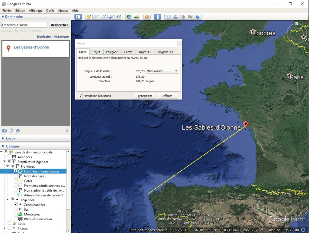 Vendée Globe / route la plus courte : orthodromie Sables10