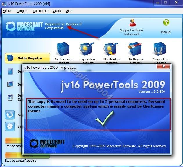 Téléchargez jv16 PowerTools 2009 avec licence gratuitement pour tous ! 01-12-11