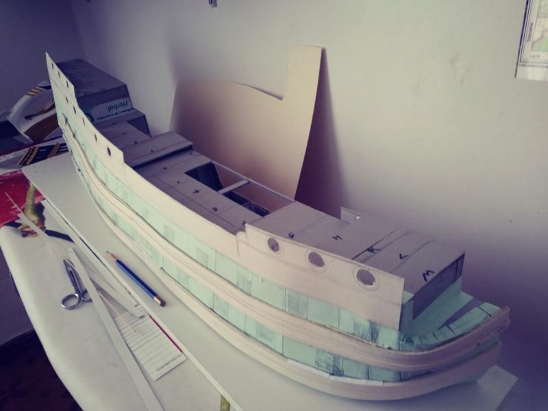 vascello 1760 da 76 cannonni - cartomodello 1/50 autocostruito 4_mura11
