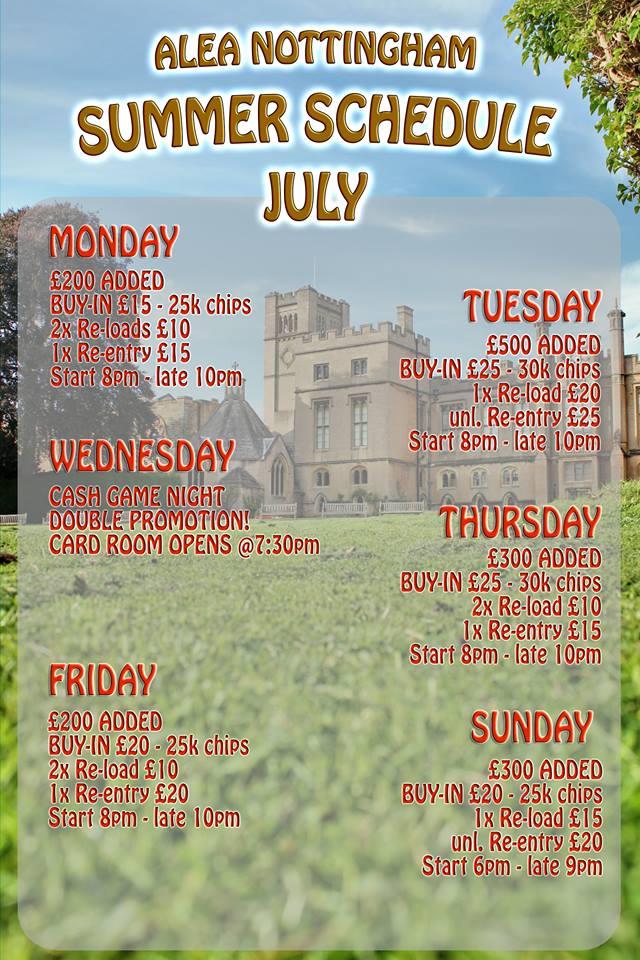 Nottingham Alea Schedule - Added Money Alea10
