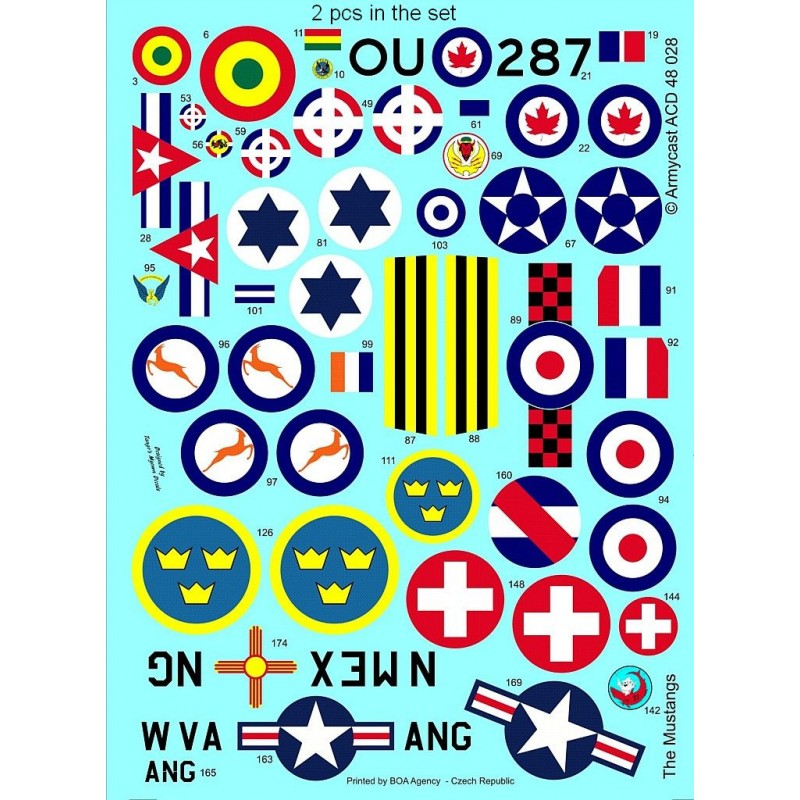 The Mustangs (P-51D & F-51D in the post-war service) - decal ARMYCAST ACD 72034 / 48028 1011