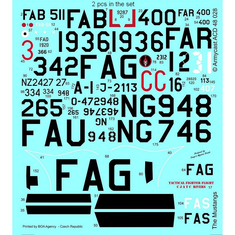 The Mustangs (P-51D & F-51D in the post-war service) - decal ARMYCAST ACD 72034 / 48028 1111