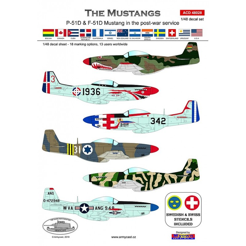 The Mustangs (P-51D & F-51D in the post-war service) - decal ARMYCAST ACD 72034 / 48028 119