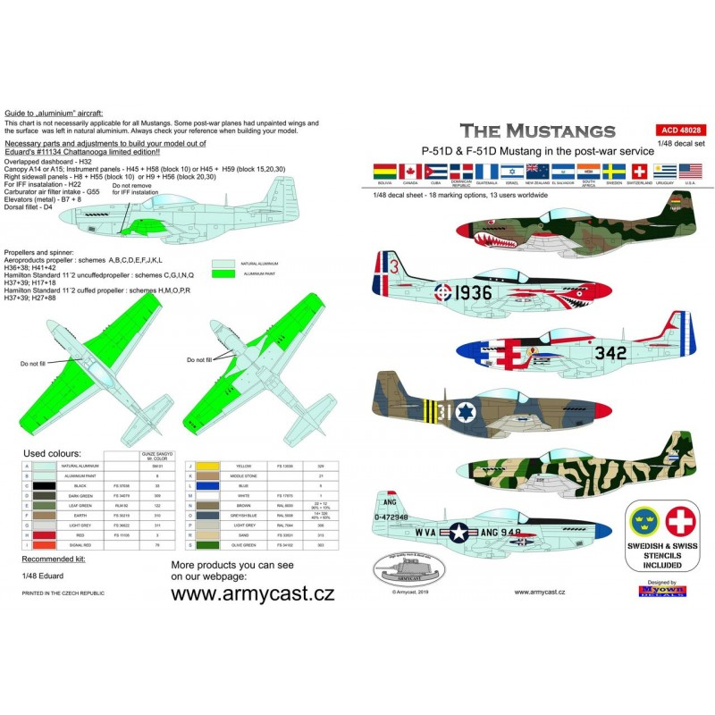 The Mustangs (P-51D & F-51D in the post-war service) - decal ARMYCAST ACD 72034 / 48028 217