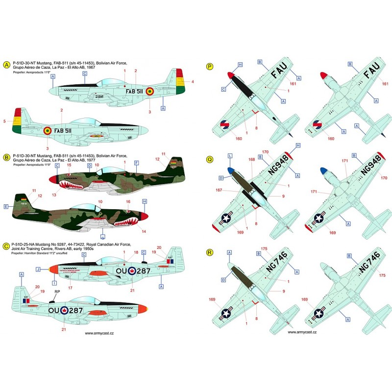 The Mustangs (P-51D & F-51D in the post-war service) - decal ARMYCAST ACD 72034 / 48028 317