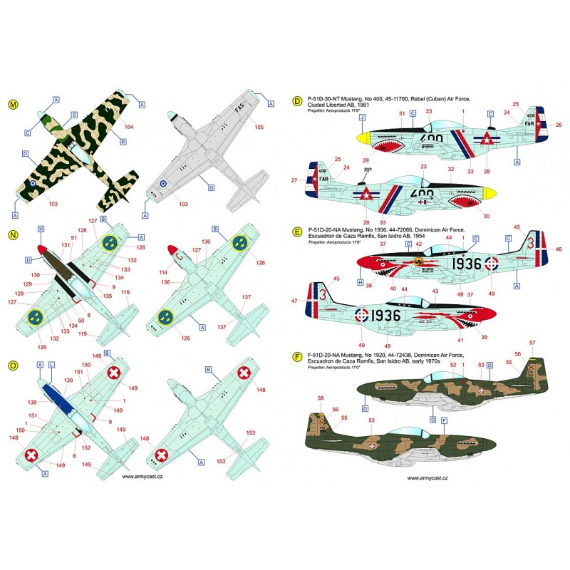 The Mustangs (P-51D & F-51D in the post-war service) - decal ARMYCAST ACD 72034 / 48028 415