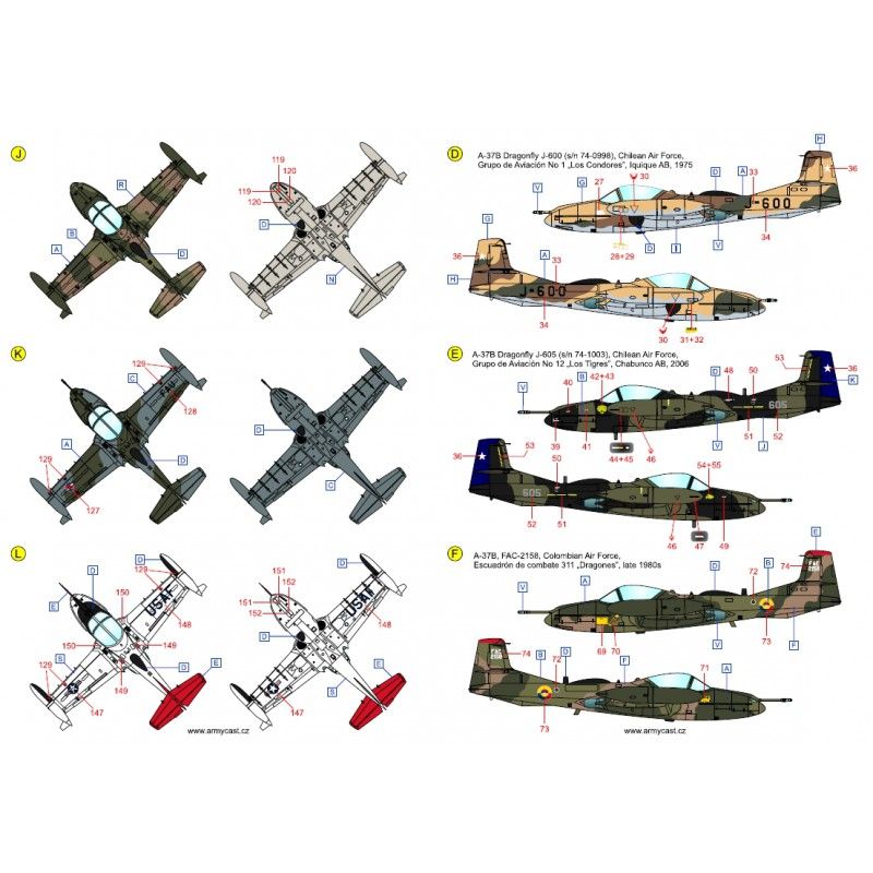 A-37 Dragonfly in the world - Decals ARMYCAST ACD 72027 / 48024 440-th10