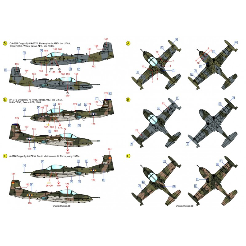 A-37 Dragonfly in the world - Decals ARMYCAST ACD 72027 / 48024 443-th10