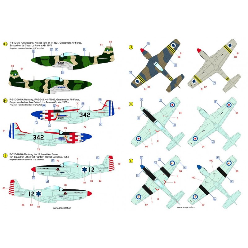 The Mustangs (P-51D & F-51D in the post-war service) - decal ARMYCAST ACD 72034 / 48028 516