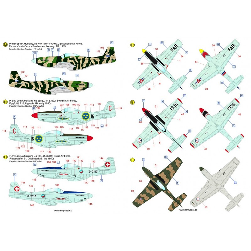The Mustangs (P-51D & F-51D in the post-war service) - decal ARMYCAST ACD 72034 / 48028 710