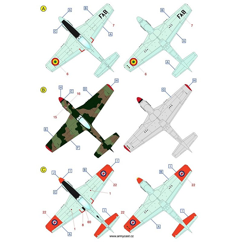The Mustangs (P-51D & F-51D in the post-war service) - decal ARMYCAST ACD 72034 / 48028 810