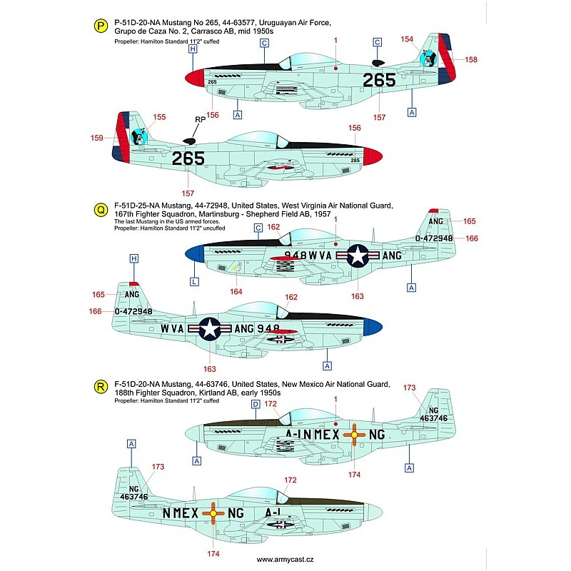 The Mustangs (P-51D & F-51D in the post-war service) - decal ARMYCAST ACD 72034 / 48028 910