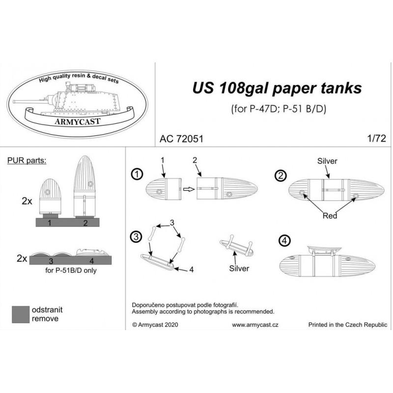P-51 MUSTANG et P-47 THUNDERBOLT - US 108 gal paper tanks - résine ARMYCAST AC 72051 Ac-72022