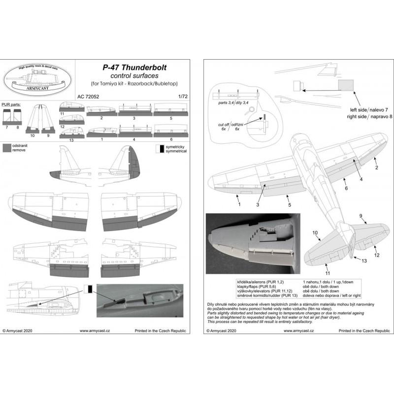 P-47D Thunderbolt - Control Surfaces Set - ARMYCAST AC 72052 Ac-72024