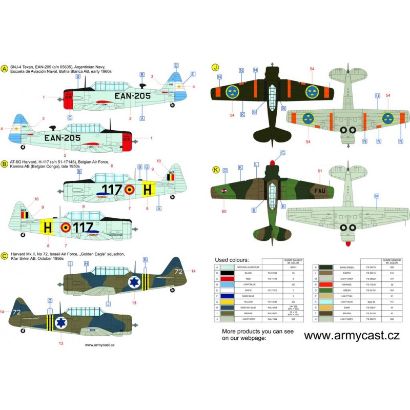 The Texans (T-6 Texan & Harvard in the world) - decal ARMYCAST Acd-4811