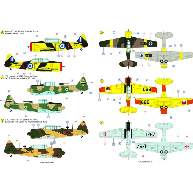 The Texans (T-6 Texan & Harvard in the world) - decal ARMYCAST Acd-4813