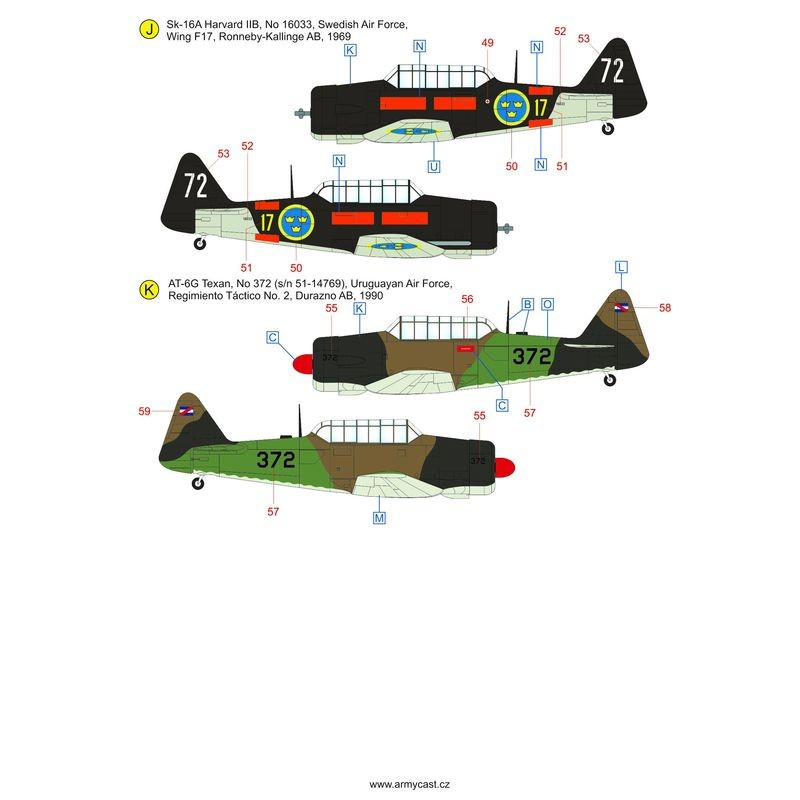 The Texans (T-6 Texan & Harvard in the world) - decal ARMYCAST Acd-4814