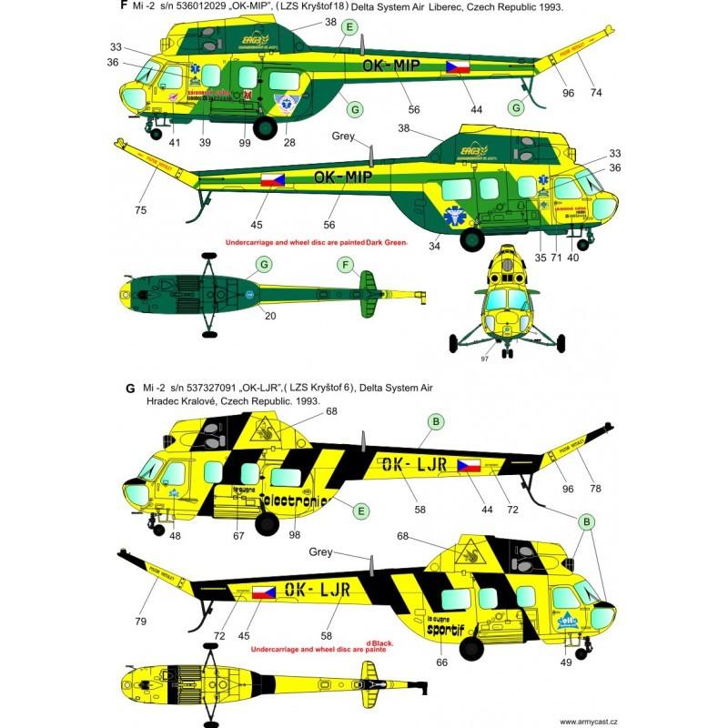 Décal Mi-2 Hoplite in the Czechoslovak / Czech SAR service - ARMYCAST Acd-7216
