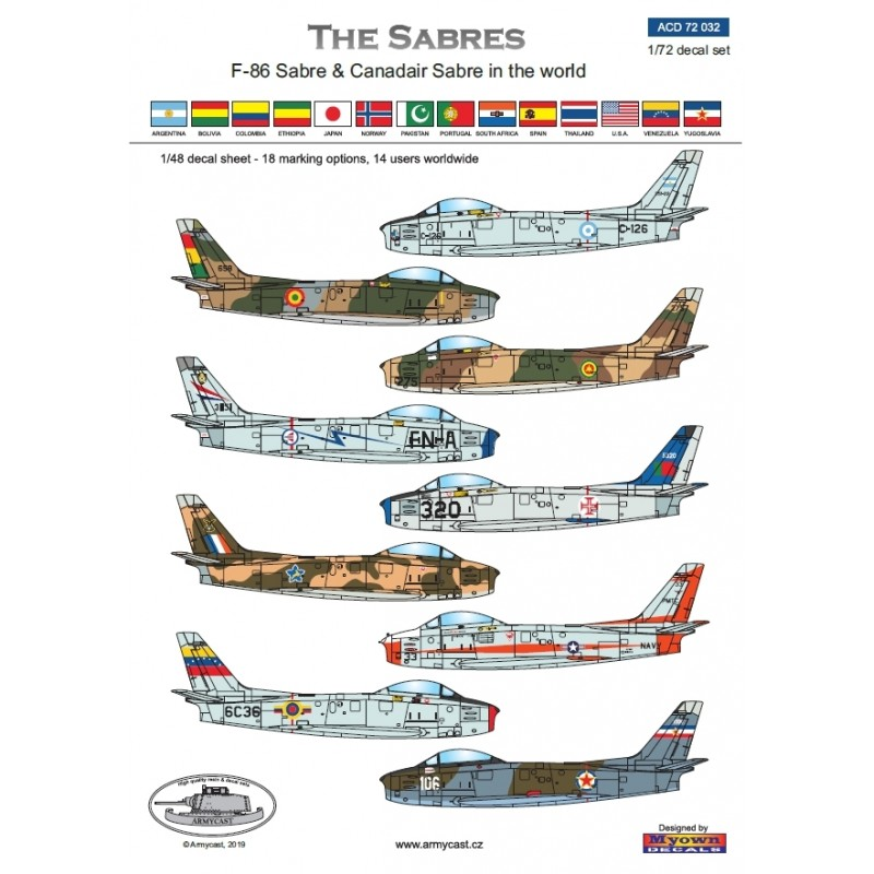 F-86 Sabre & Canadair Sabre in the world - Décal ARMYCAST ACD 72032/48027 Acd-7224