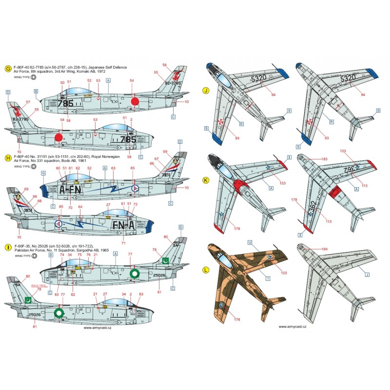 F-86 Sabre & Canadair Sabre in the world - Décal ARMYCAST ACD 72032/48027 Acd-7230