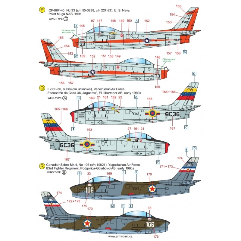 F-86 Sabre & Canadair Sabre in the world - Décal ARMYCAST ACD 72032/48027 Acd-7232