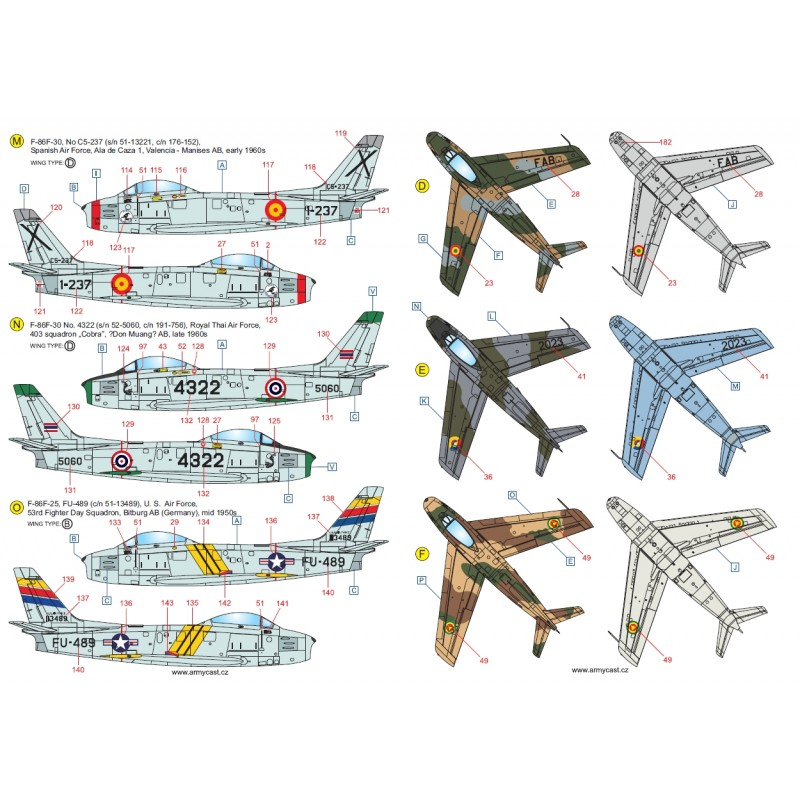 F-86 Sabre & Canadair Sabre in the world - Décal ARMYCAST ACD 72032/48027 Acd-7233