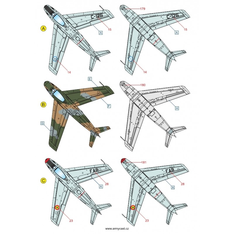 F-86 Sabre & Canadair Sabre in the world - Décal ARMYCAST ACD 72032/48027 Acd-7235