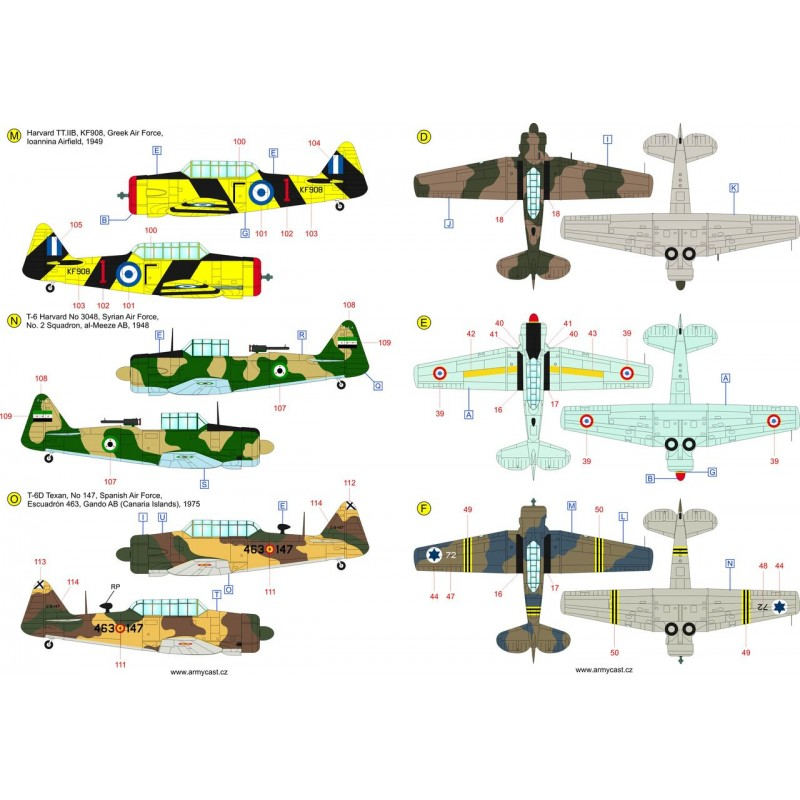 The Texans (T-6 Texan & Harvard in the world) - decal ARMYCAST ACD 72033 Acd-7243