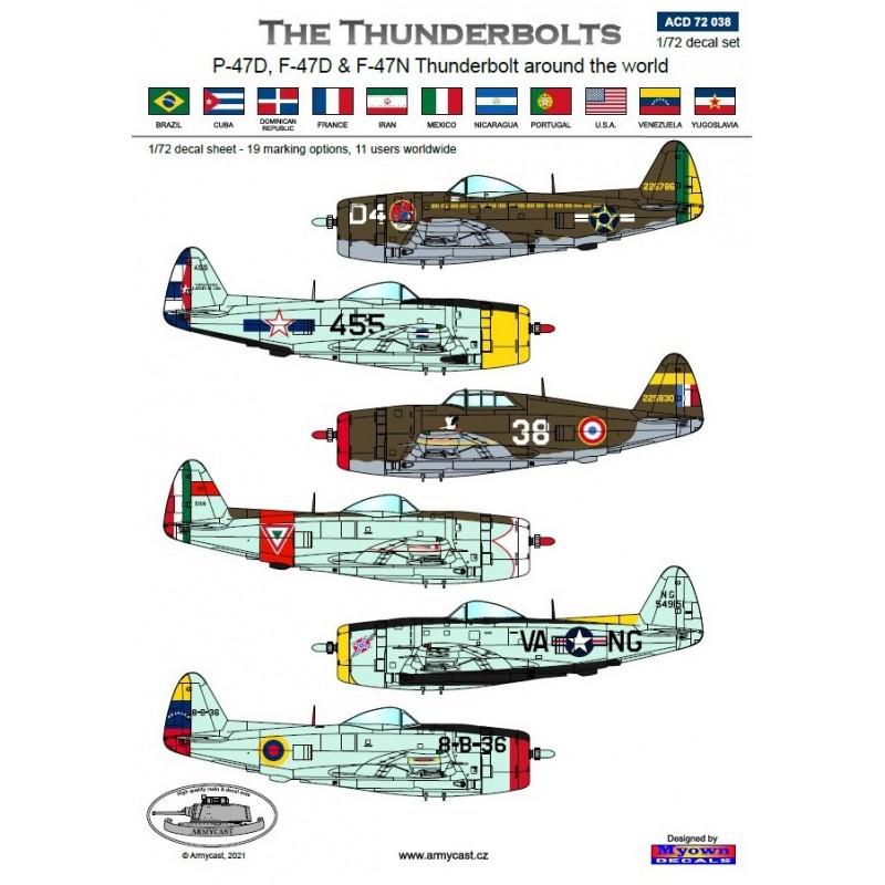 The Thunderbolts (P-47D, F-47D & F-47N Thunderbolt around the world - decal ARMYCAST Acd-7278