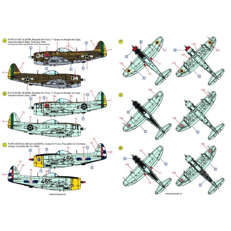 The Thunderbolts (P-47D, F-47D & F-47N Thunderbolt around the world - decal ARMYCAST Acd-7279