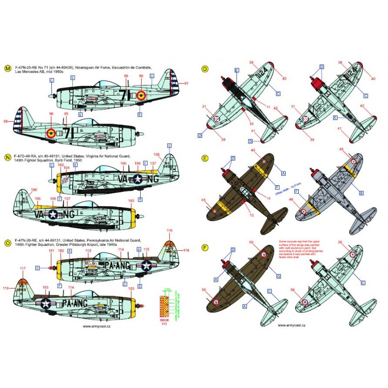 The Thunderbolts (P-47D, F-47D & F-47N Thunderbolt around the world - decal ARMYCAST Acd-7280